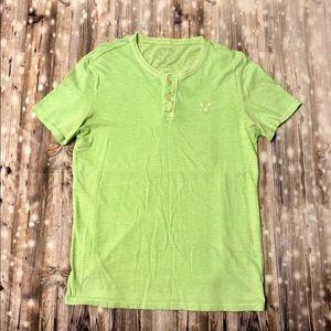 American Eagle lime green slub henley short sleeve